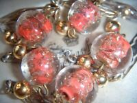 VINTAGE ART DECO VENETIAN Sommerso Coral Aventurine Glass Beads NECKLACE