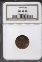 1985 D   NGC MS 67 RD PENNY