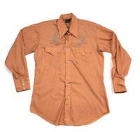 VTG Champion Westerns Pale Orange Rockabilly Shirt Cactus Pearl Snap Men's 16-34