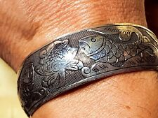 Chinese lucky fish silver bracelet