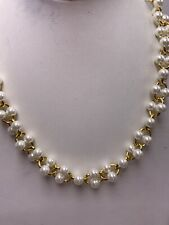 Kate Spade Gold Tone White Faux Pearl Chain Link Necklace Wbruh379