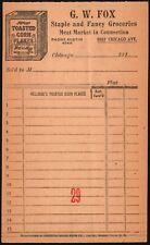 Vintage receipt KELLOGGS CORN FLAKES box pic 1910s G W Fox Chicago ILL unused