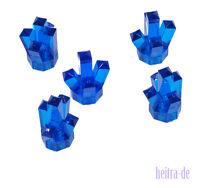 LEGO - 5 Kristalle 1x1 mit 5 Zacken transparent dunkelblau / Crystal  52 NEUWARE