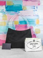 $795 PRADA Black Nylon Hobo Shoulder Bag Clear Lucite Handle Side Logo SALE! EUC