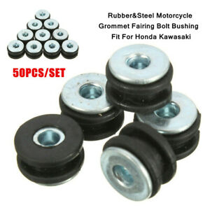 50PCS Rubber Motorcycle Grommet Fairing Bolt Bushing Part Fit For Honda Kawasaki