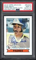 2018 Topps Archives #RHAOS OZZIE SMITH /99 Topps Rookie History Auto PSA 9 MINT