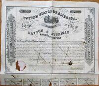 Dayton & Michigan Railroad Co. 1853 LARGE Stock/Bond Certificate - Ohio OH