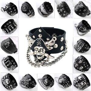 Unisex Rock Punk Black Leather Skull Cuff Wristband Bracelet Fashion Jewellery