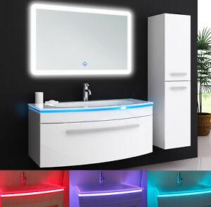 JASMIN 90 cm LED Set Unterschrank Waschtisch Waschbecken Badmöbel Weiß Spiegel