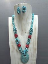 """18"""" Turquoise Chip Coral Necklace with Oval Agogo Pendant Free Earrings Handmade"""