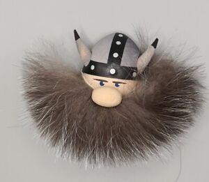 Wikinger Magnet mit grauen Bart, Handarbeit etwa 8x7x2cm