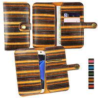 Vintage Stripes PU Leather Wallet Case Cover Sleeve Holder Fits BQ Phones