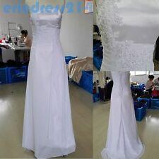 2019 White/Ivory Chiffon Wedding Dress Bridal Gown Stock Size : 6-8-10-12-14-16