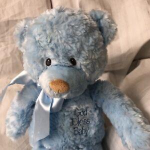 "Baby Gund Teddy Bear Plush Blue God Bless Baby Praise 58413 14"""