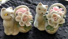 VINTAGE - PORCELAIN -  2 x SMALL BASKETS WITH FLOWERS AND A CAT - MADE IN CHINA