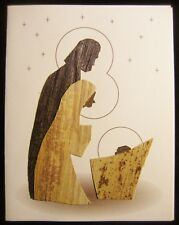 """Vintage Christmas Greeting Card in Balsa Wood the """"Holy Family"""""""