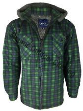 New Mens Sherpa Fleece Hooded Lumberjack Padded Work Shirt Warm Fur Lined Jacket