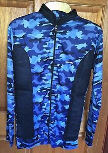 Women's Blue Breathable Cooling Camouflage Sports Jacket (Small)