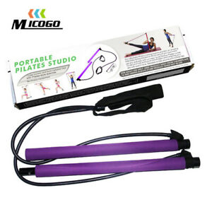 Pilates Stretch Pull Rope Slimming Gym Home Exercise Stick Bar Band Portable US
