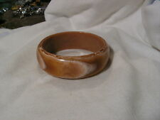 ...Wide Mixed Brown & White Abstract Lucite Bangle Bracelet...