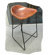 Freddy 640 Light Brown Rustic Leather Bar Stool on a Black Steel Frame BRAND NEW