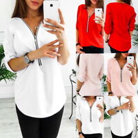 Women Chiffon Long Sleeve Loose Blouse Ladies V Neck Casual Tops Shirt Plus Size