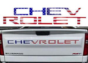 For 2019-2021 Chevrolet Silverado USA Flag Tailgate Insert Letters 3D Raised