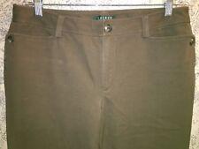 RALPH LAUREN green tag brown pants casual dress soft stretch straight leg 8
