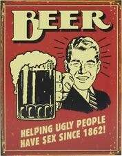 Tin Sign - Beer Ugly People - poster vintage retro plaque wall home decor pub