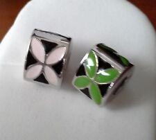 SET:  2 Abalorios / charms / beads (sterling, enamel)  for european bracelet