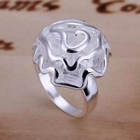 Fashion women new Silver Plated pretty Rose flower ring jewelry with box R05925