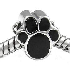 Wholesale 20pcs Black Dog Paw Silver European Bracelet Spacer Charm Bead D604
