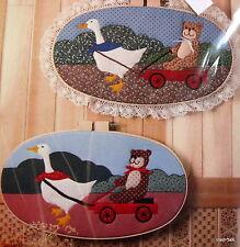 Hoop Applique pattern Country goose w/ teddy bear wagon 11 x 20 oval FF