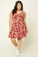 Forever 21 Plus Size Rust Cream Belted Floral Dress Skater Knit 1X/2X