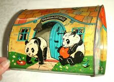Colourful Vintage 1930's Panda Cottage Confectionery Tin ~ Ming the Zoo Panda