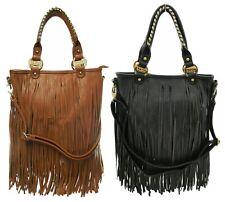 Ladies LYDC Celeb Designer Fringe Faux Leather Tassel Messenger Shoulder Bag