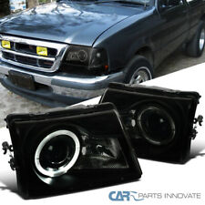Fit Ford 98-00 Ranger Pickup Black Smoke Projector Headlights w/ Halo Rim Pair