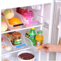 3PCS/Set Fridge Storage Rack Freezer Pull-Out Shelf Drawer Space Saver Organizer
