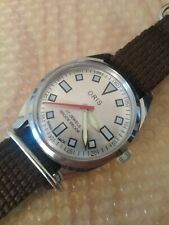 Vintage 70s Oris Swiss Mechanical Watch with Mod Diver Dial Lume Sword Hands
