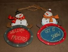 Lot of 2 Wooden Snowman Christmas Holiday Ornaments - Brand New