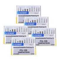 50Pcs AZDENT Dental Creamic Composite Polishing (Diamond FG bur) FG-105 10Pc/Kit