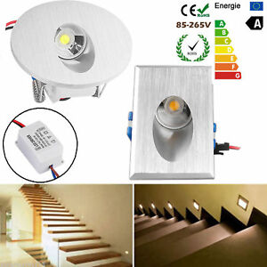 1/10/20x LED Recessed Walkway Step Stair Wall Corner Light Lamp Round/ Rectangle