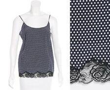 Stella Mccartney Top Silk Crepe Lace Camisole Tank Navy White Polka Dots S