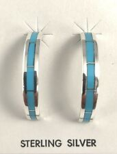 Native American Sterling Silver Navajo Handmade Turquoise Hoop Earrings