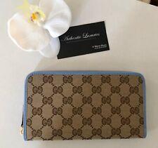 GUCCI Blue Ebony GG Supreme Canvas Zip Around Wallet,Authentic