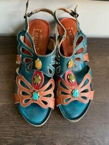 Spring Step L'Artiste Absynthe Jeweled Open Toe Slingback Sandals sz 41/9-9.5
