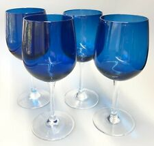 """Set of 4 Cobalt Blue Wine Glasses Goblets Clear Glass Stems Footed Base 8"""" Tall"""