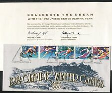 Set of 6 USA 1992 Olympic Winter Games Commemorative Souvenir Stamps & Cover