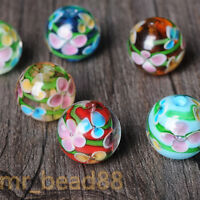 5Pcs Czech Glass Crackle Floral Round Loose Spacer Beads Jewelry Making DIY