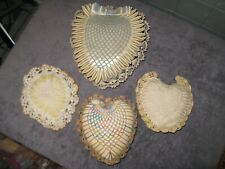 """1 LARGE 10"""" & 3 SMALLER 7"""" HAND CRAFTED DOILY HEART PIN CUSHION PILLOWS"""